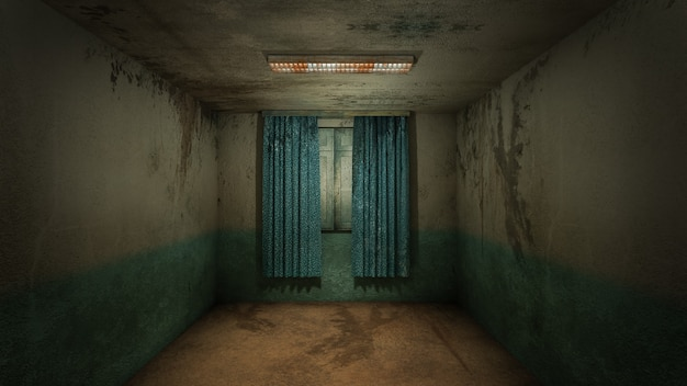 Дизайн интерьера ужасов и жутких повреждений пустой комнаты., 3d рендеринг.