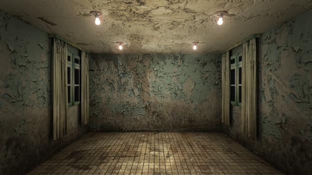 공포와 소름 끼치는 손상 빈 방의 인테리어 디자인., 3d 렌더링.