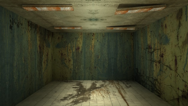 공포와 소름 끼치는 손상 빈 방, 3d 렌더링의 인테리어 디자인.
