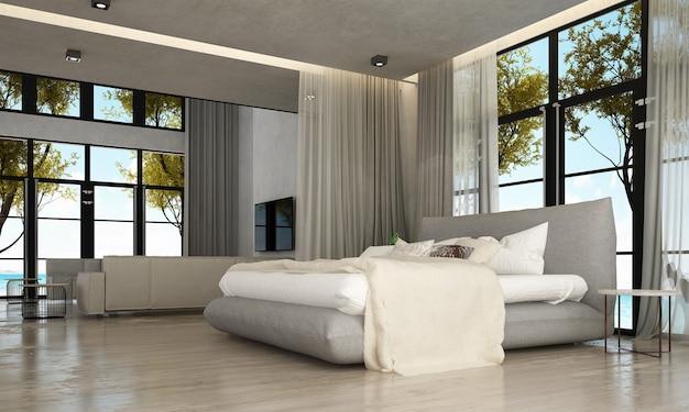 Дизайн интерьера гостиной и гостиной, фон бетонной стены и вид на море.