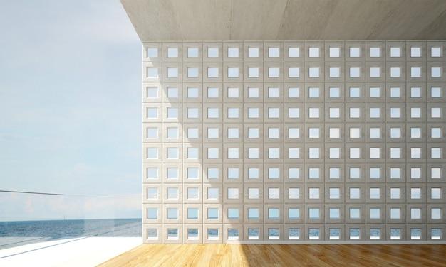 Дизайн интерьера современной пустой гостиной и гостиной с бетонной стеной и видом на море