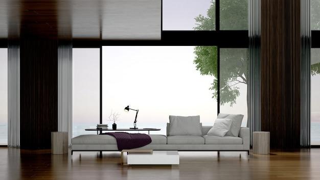 モダンなトロピカルリビングルームとコンクリートの壁の背景と海の景色のインテリアデザイン