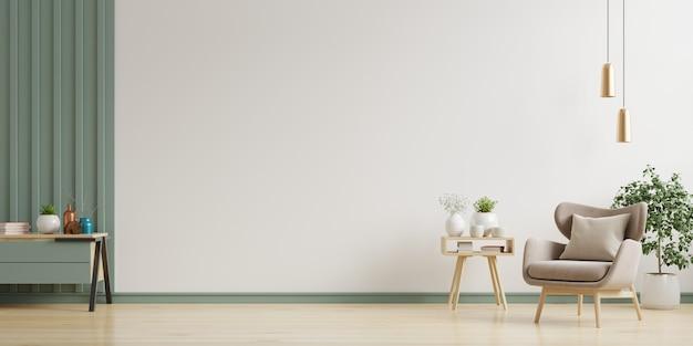 В интерьере есть кресло на фоне пустой белой стены, 3d-рендеринг