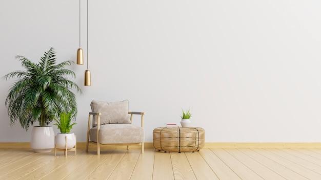 В интерьере есть кресло на пустой белой стене.