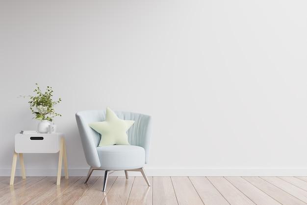 내부에는 빈 흰색 벽에 안락 의자가 있습니다.