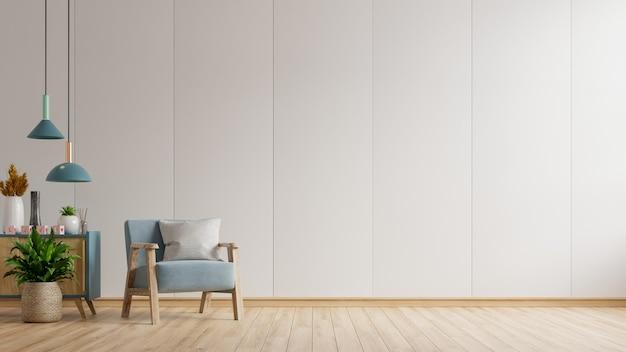インテリアは空の白い壁に青いアームチェアがあり、3dレンダリング