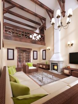 Интерьер выполнен в современном английском стиле с камином. высокие потолки с деревянными балками. 3d рендеринг