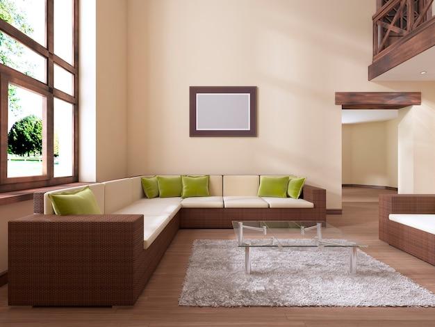 インテリアはモダンなスタイルで、大きな籐のソファと緑のクッションがあります。 3dレンダリング