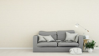 The interior living minimal space in apartment and background style - 3D Rendering