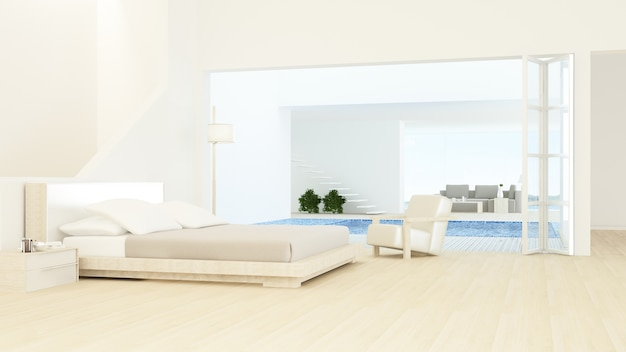 인테리어 최소한의 호텔 침실 공간 수영장 3d 렌더링 및 자연보기