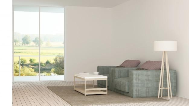 Интерьер минимальной гостиницы расслабляет пространство 3d рендеринга и вид на природу