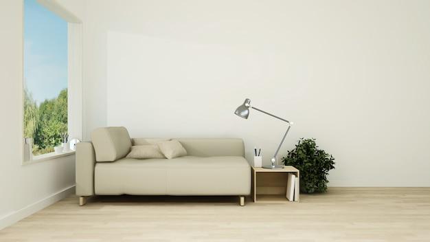 인테리어 최소한의 호텔 휴식 공간 3d 렌더링 및 자연보기