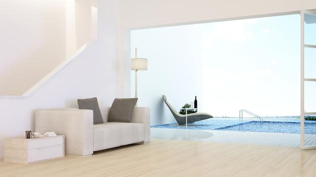 인테리어 최소한의 호텔 휴식 공간 수영장 3d 렌더링 및 자연보기