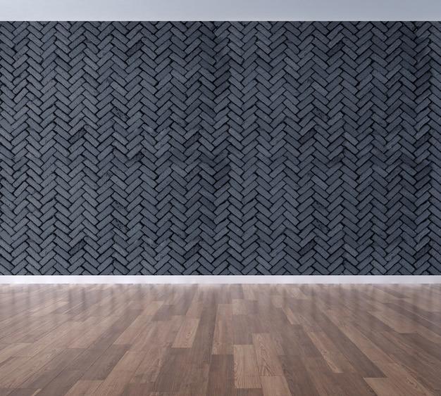 インテリアは居心地の良い空のリビングルームと黒レンガの壁のテクスチャ背景のデザインを模擬