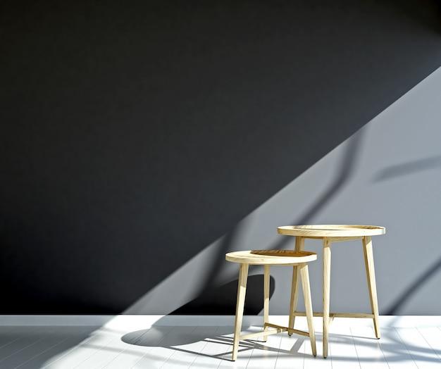 インテリアは居心地の良い空のリビングルームと灰色の壁のテクスチャ背景のデザインを模擬