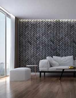 Интерьер макета дизайна уютной гостиной и черной кирпичной стены текстуры фона