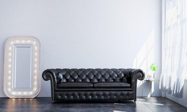 インテリアはモダンで豪華なリビングルームと白い壁のテクスチャ背景のデザインを模擬