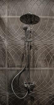 Интерьер современной ванной комнаты с душем, на фоне стены с красивой плиткой.