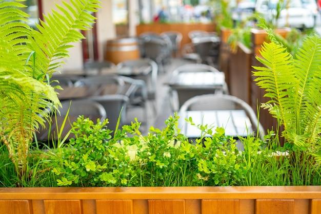 여름 거리 카페의 인테리어입니다. 도시에서 밝고 화창한 날.
