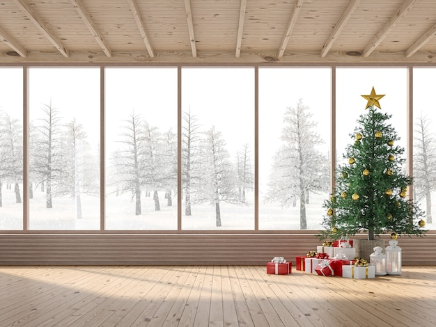 クリスマスツリーの3dレンダリングが施された木造住宅のインテリア。客室は木製の床と天井があり、松の木とギフトボックスで飾られています。大きな窓からは雪景色が見渡せます。
