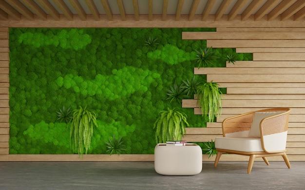 Интерьер гостиной с ротанговым креслом и стеной из скандинавского мха