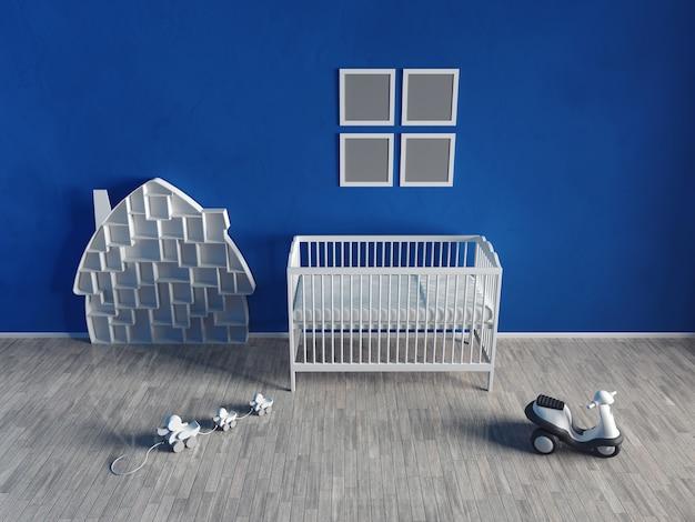 어린이 방의 인테리어는 파란색입니다. 흰색 가구와 장난감. 가구와 소품이 거의 없습니다. 3d 렌더링.