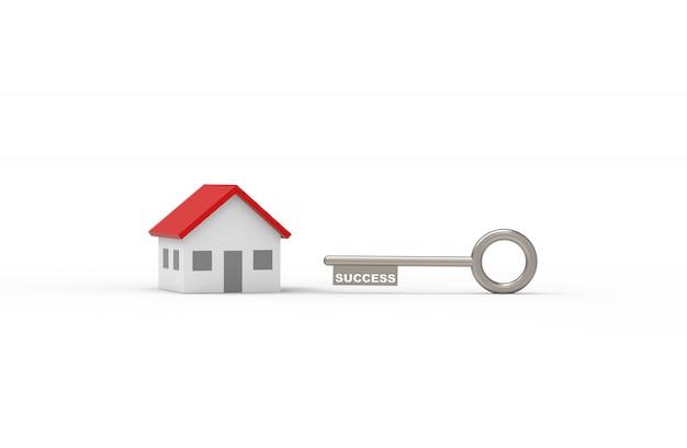 Ключ к успеху в покупке дома. 3d иллюстрация