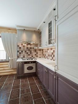 Кухня в бревенчатом интерьере в современном стиле коричнево-белых фасадов