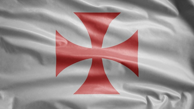 風になびくテンプル騎士団の旗