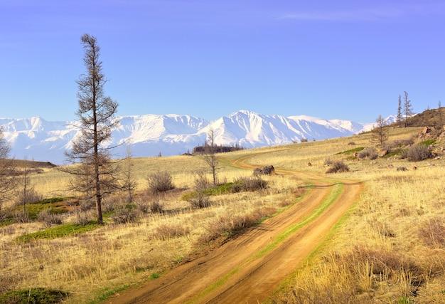 알타이 산맥의 쿠라이 산맥 쿠라이 대초원의 바위 절벽 흙길