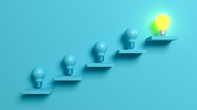 Светильники освещены на лестнице на самом высоком уровне. 3d сцена