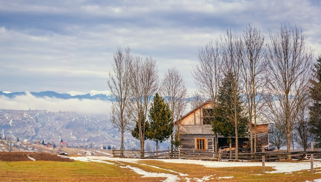 우크라이나의 마지막 날 겨울 산