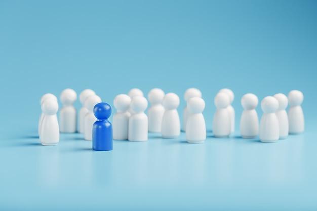 Лидер в голубом ведет группу белых сотрудников к победе, hr, подбор персонала. концепция лидерства.