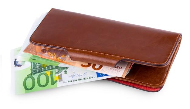 Кожаный кошелек и снятие европейской валюты