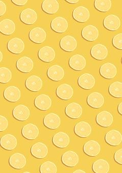 Лимонный узор на желтом фоне. концепция минимальной плоской планировки.