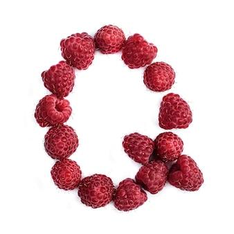 Буква q английского алфавита красной спелой малины