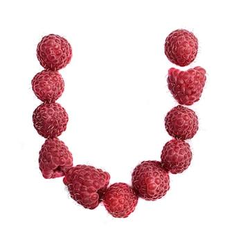 Буква u английского алфавита красной спелой малины, изолировать на белом фоне