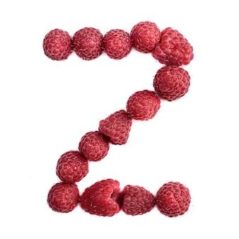 Буква z английского алфавита красной спелой малины