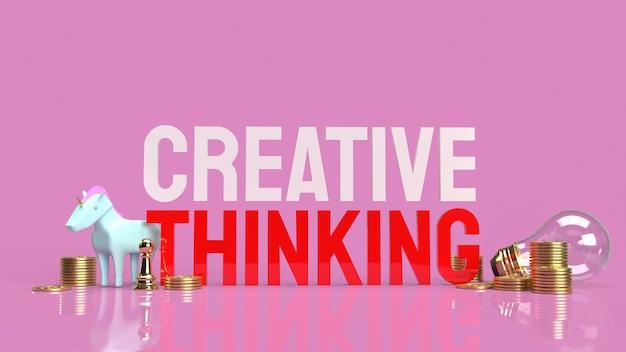 アイデアコンテンツの3dレンダリングのための電球と創造的思考テキスト