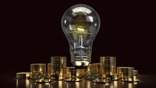 アイデアやビジネスコンテンツの3dレンダリングのための暗闇の中で電球と金貨