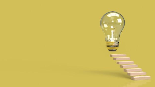 アイデアコンテンツの3dレンダリング用の電球と階段。