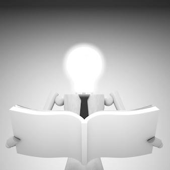 Кукла с лампочкой и книгой 3d иллюстрация