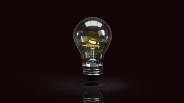 アイデアやビジネスコンテンツの3dレンダリングのための暗闇の中で電球