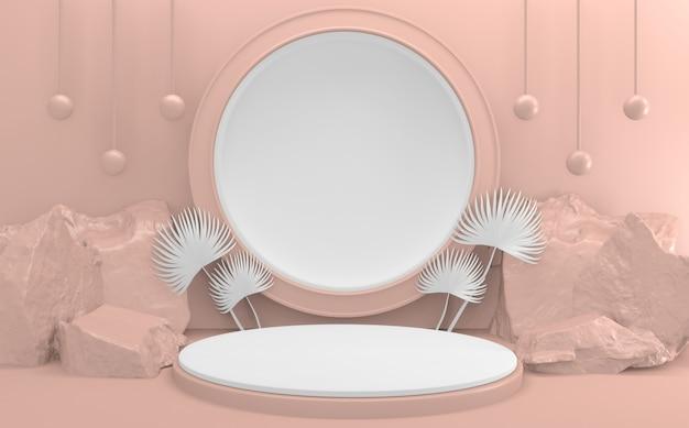 라이트 핑크 연단 최소한의 디자인 제품 장면. 3d 렌더링