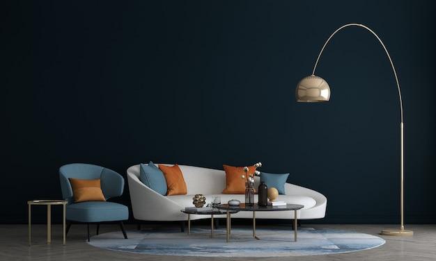 Дизайн интерьера гостиной с отделкой и пустой стеной макет фона, 3d визуализация, 3d иллюстрации