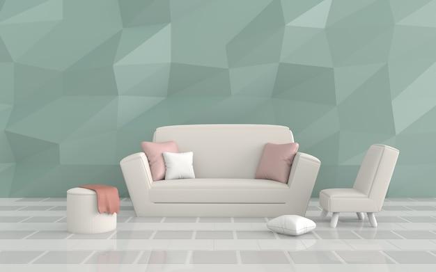 В гостиной есть меблированные подушки, диван, стул, зеленая цементная стена и серая черепица. 3d r