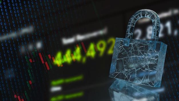 보안 개념 3d 렌더링을 위한 잠금 및 비즈니스 배경