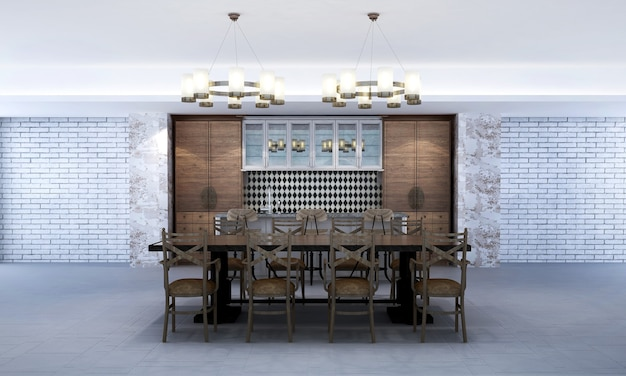라운지 및 식당 인테리어 디자인 및 콘크리트 벽 질감 배경