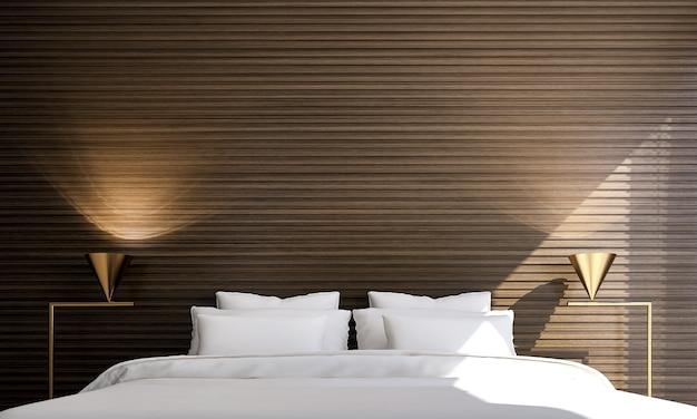 豪華なインテリアの寝室のデザインと木製のテクスチャ壁の背景