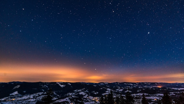 青い星空と真っ赤な夕日を背景に、冬の丘の間で成長する針葉樹林の不思議な風景。広告のための場所。テキストの場所